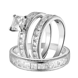 His Hers Trio Ring Wedding Princess Solitaire Cut Simulated Diamonds 925 Silver