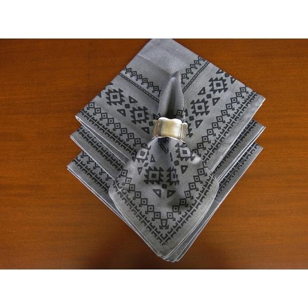 Shop D.Franco Grey Printed Cotton Table Napkin Set of 4 - 31316971