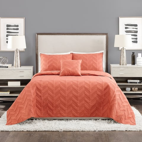 Ayesha Curry Texture Chevron Coverlet Set, Spice