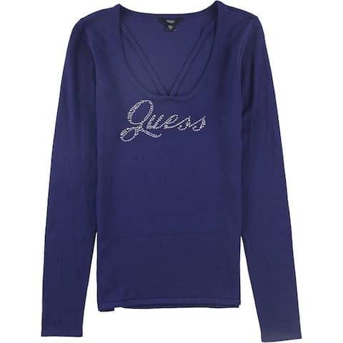 Guess Womens Rhinestone Logo Pullover Sweater
