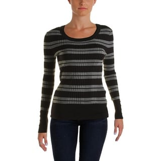 Hooked Up by IOT Womens Juniors Ribbed Knit Striped Pullover Sweater