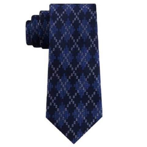 Tommy Hilfiger Men's Classic Argyle Holiday Tie Navy Size Regular
