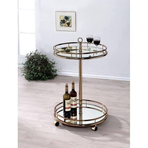 Furniture of America Oler Contemporary Gold Metal 2-shelf Bar Cart