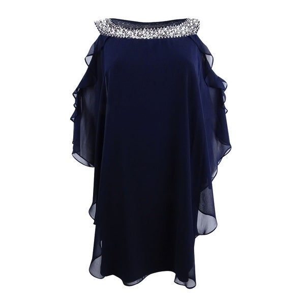 4c0142a37175 Shop Xscape Women's Plus Size Embellished Cold-Shoulder Overlay Dress (20W,  Navy) - Navy - 20W - Free Shipping Today - Overstock - 27332666