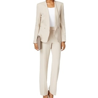 Tahari By ASL NEW Beige Stone Women's Size 4 Open Front Pant Suit Set