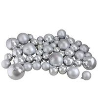 "50ct Silver Splendor Shiny & Matte Shatterproof Christmas Ball Ornaments 2.4""-3""-4"""