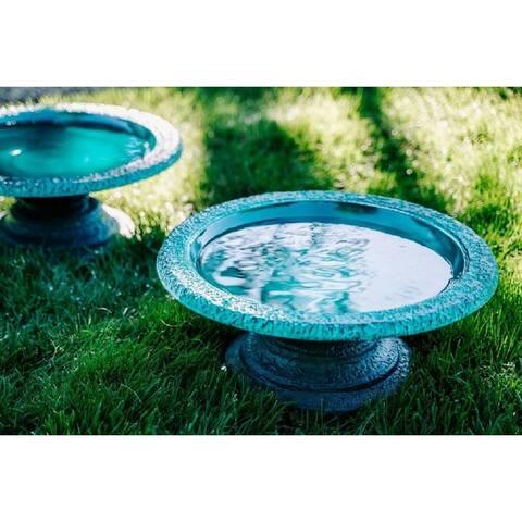 XBrand Set of 2 Glazed Finish Bird Baths w/ Short Round Base, 17.7 Inch Wide, Green