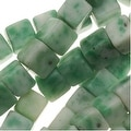 Green China Jade 4mm x 4mm Square Cube Beads / 15.5 Inch Strand - Thumbnail 0
