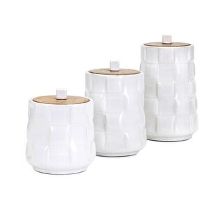 Set of 3 Milky White Cylindrical Canisters with Cube Shaped Lid Lifts and Glaze Finish 8.5""