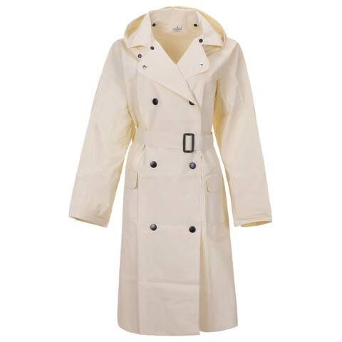 QZUnique Women's Lightweight Long Raincoat With Belt Waterproof Packable Ponchos Jackets with Hood