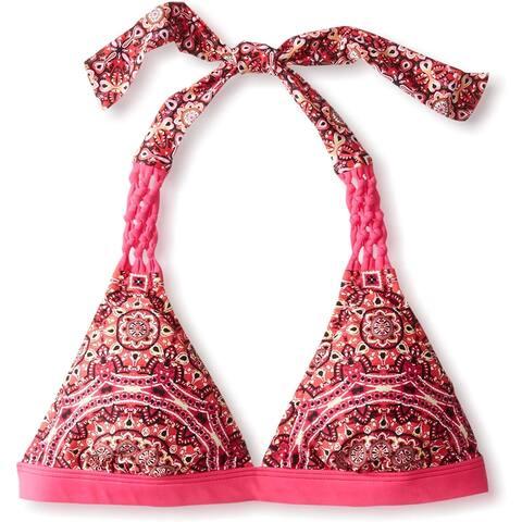 Jessica Simpson Women's Printed Banded Halter Bikini Top, Passion, L