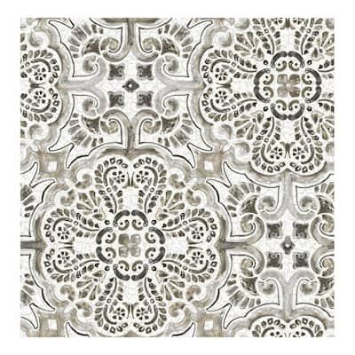 Black Florentine Tile Peel & Stick Wallpaper - 216in x 20.5in x 0.025in