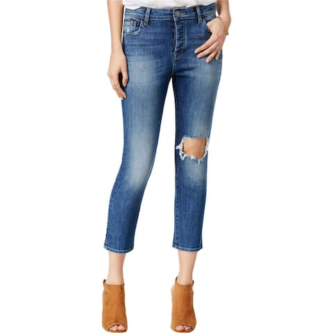 DL1961 Womens Ripped Goldie Straight Leg Jeans, Blue, 26