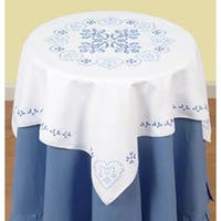 """Xx Americana - Stamped White Perle Edge Table Topper 35""""X35"""""""