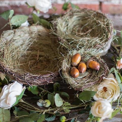 RusticReach Handmade Grass Willow Bird's Nest Ornament Set of 3