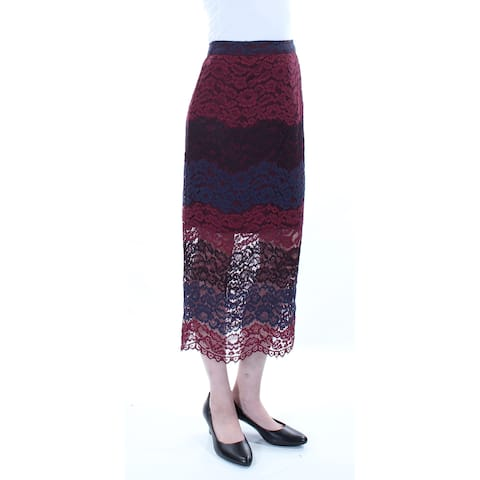 BAR III Womens Red Lace Zippered Floral Tea-Length Pencil Skirt Size: S