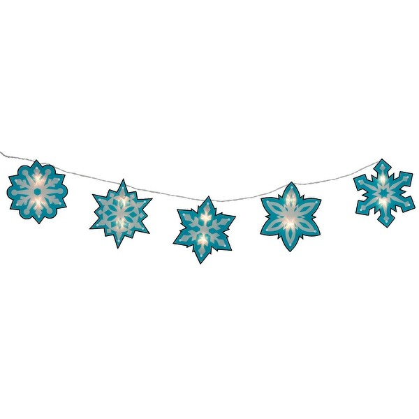 4.5' Blue and White Shimmering Snowflake Christmas Light Garland with 10 Clear Mini Lights - White Wire