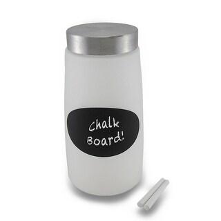 Frosted Glass Storage Jar w/Metal Twist Top Lid and Chalkboard Label