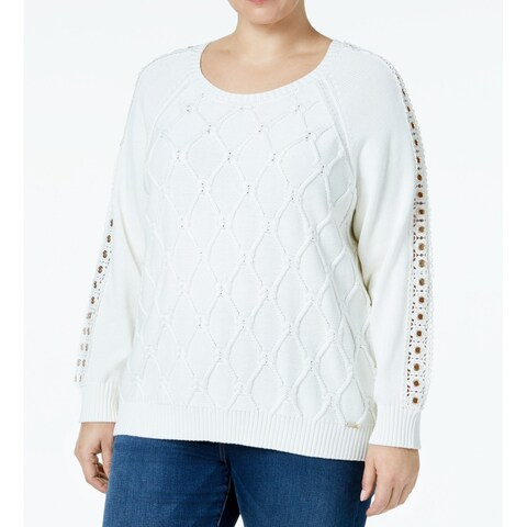 Tommy Hilfiger Ivory Womens Plus Cable-Knit Scoop Neck Sweater