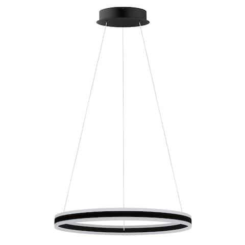 Eglo USA Tonarella Black LED Round Open Pendant with White Acrylic