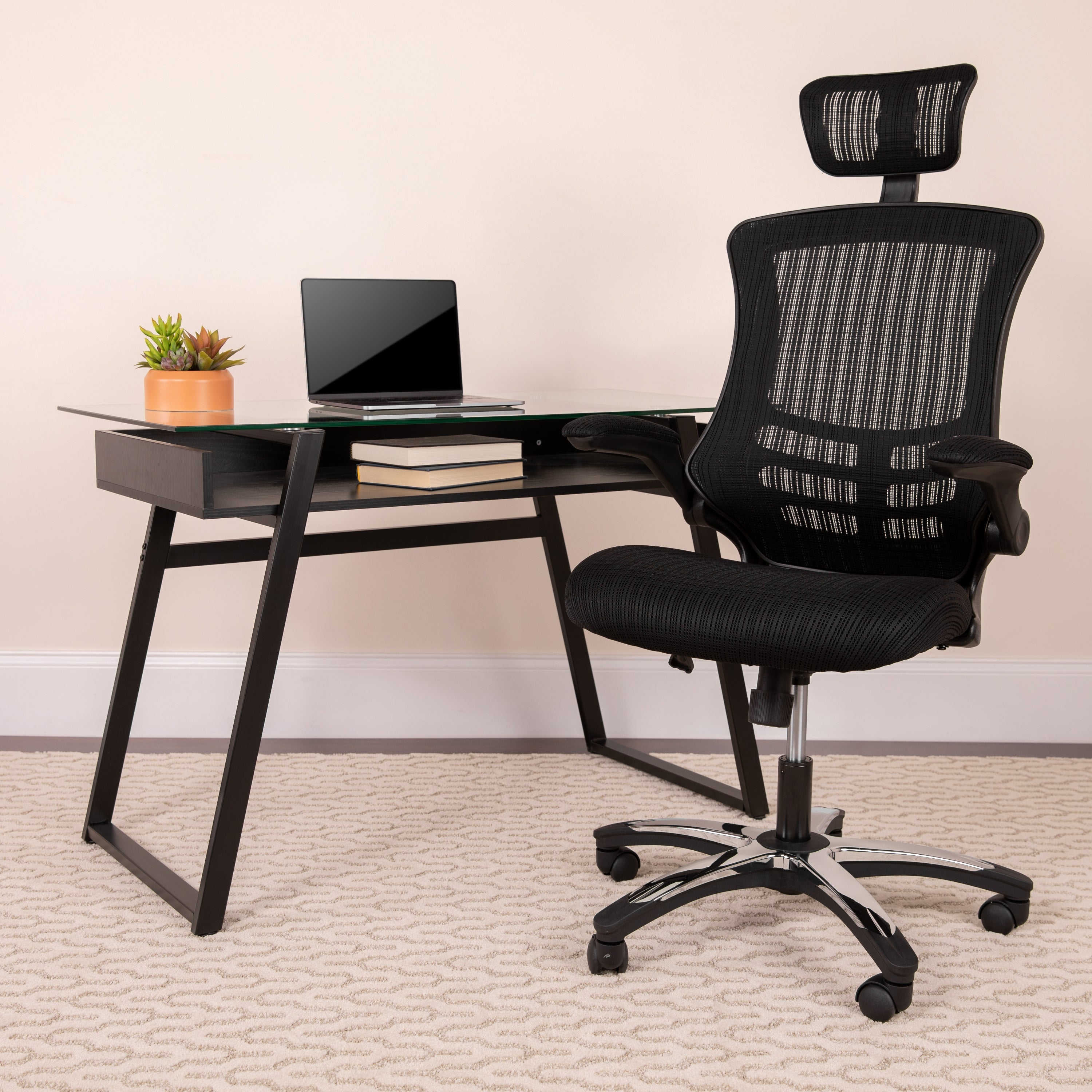 High Back Mesh Executive Swivel Office Chair with Flip-Up Arms and  Chrome-nylon Designer Base