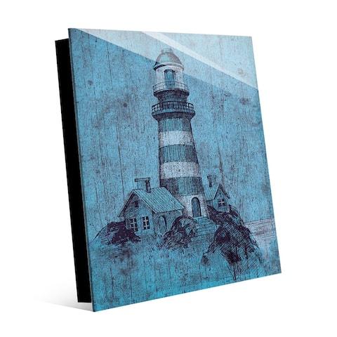 Kathy Ireland Light House on Blue Grunge Nautical on Acrylic Wall Art Print