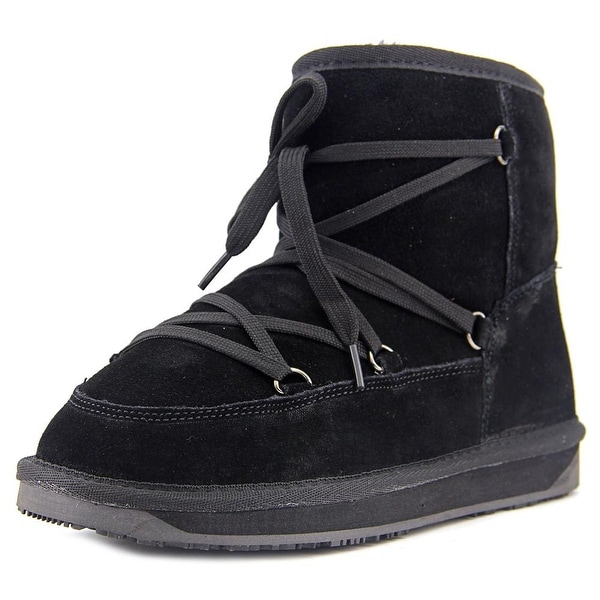 BooRoo Ainsley Women Round Toe Suede Black Winter Boot