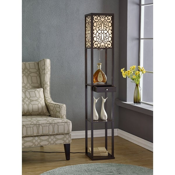 """Etagere 63"""" Shelf Floor lamp with Shade and Drawer. Opens flyout."""