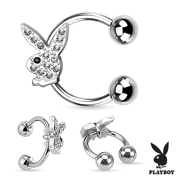 {Clear} Gem Paved Playboy Bunny 316L Surgical Steel Horseshoe (Sold Ind.)