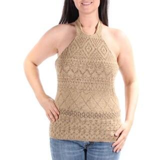 RALPH LAUREN $135 Womens New 1234 Brown Halter Sleeveless Sweater S B+B