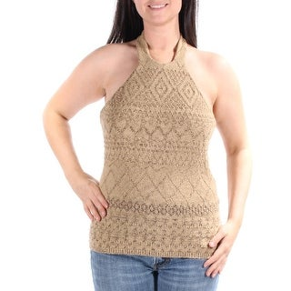 Womens Beige Sleeveless Halter Sweater Size L