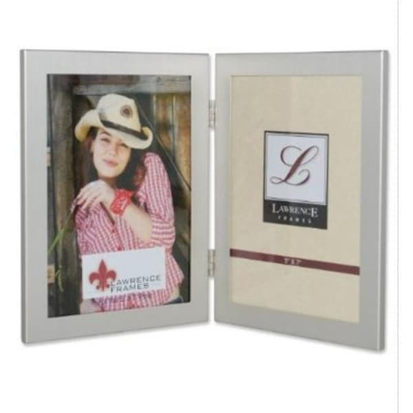 Brushed Silver 5x7 Hinged Double Metal Picture Frame - Free Shipping ...