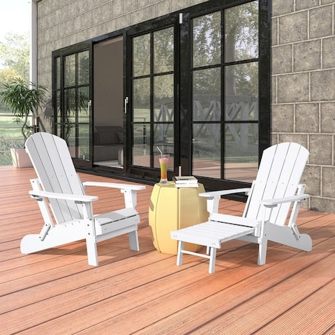 Seaton Folding Poly Adirondack Chair with Pull-out Ottoman, Set of 2