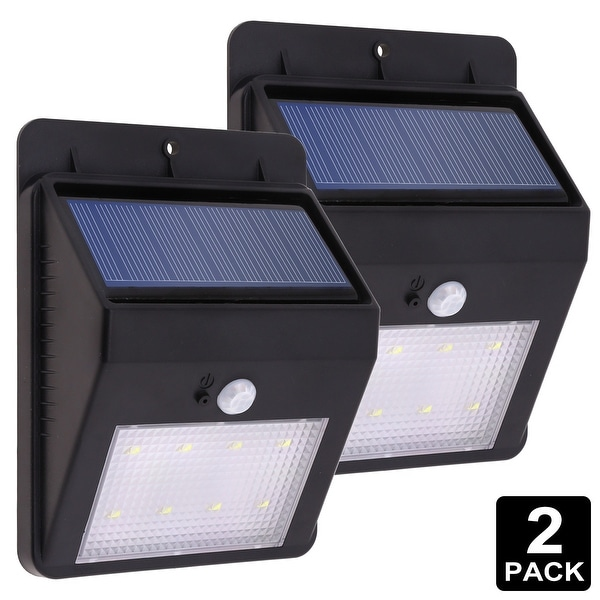 LED Solar Powered Outdoor Wall Light, Motion Activated Wireless (BLACK)