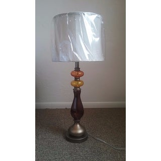 """31"""" Antique Silver with Purple and Amber Glass Table Lamp"""