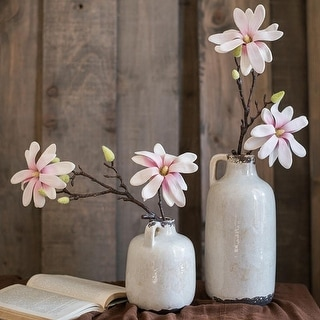 "RusticReach Real Touch Magnolia Flower Stem 21"" Tall"