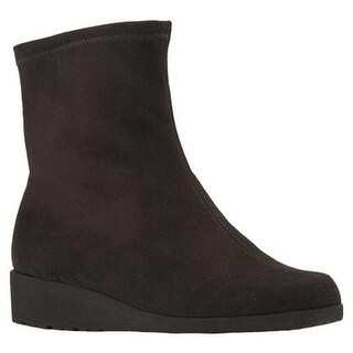 Walking Cradles Women's Feather Wedge Ankle Boot Black Suede Stretch