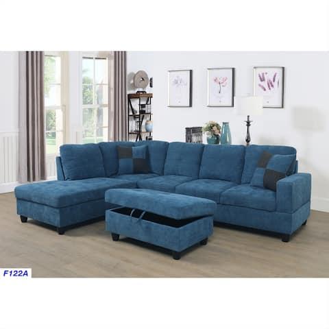 3-Pieces Sectional Sofa Set,Left Facing,Blue Velve(122A)