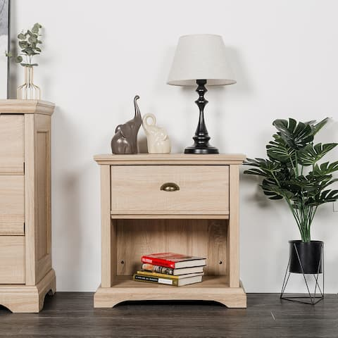 Cloud Mountain Nightstand with 1-Drawer End Table Side Table File Cabinet Storage Table