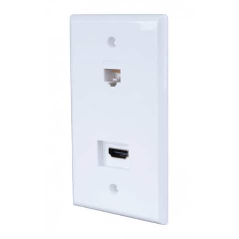 Monster JHIU0072 Just Hook It Up Home Theater Wall Plate, Plastic, White