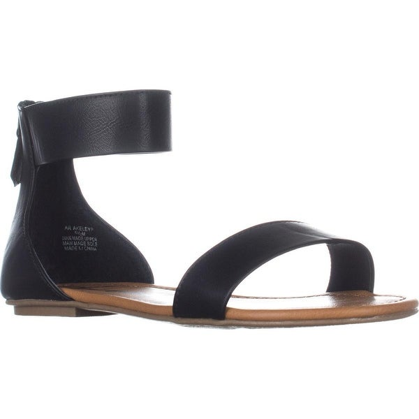 AR35 Keley Ankle Strap Flat Sandals, Black