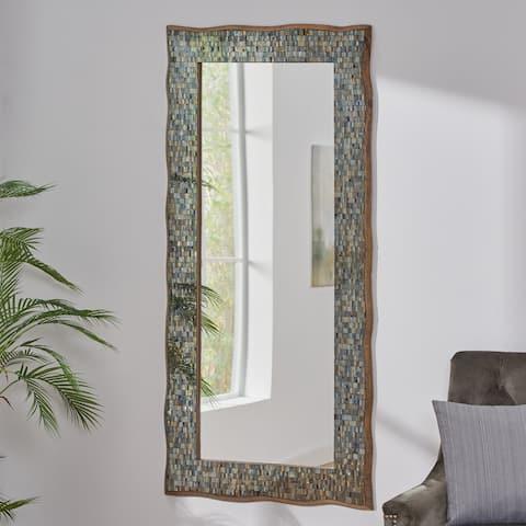 "Jewett Jewett Boho Handcrafted Rectangular Mosaic Wall Mirror by Christopher Knight Home - 30.25"" L x 1.00"" W x 64.25"" H"