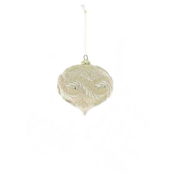"""4"""" Glamour Time Champagne Embroidered Trim Glass Onion Christmas Ornament - WHITE"""