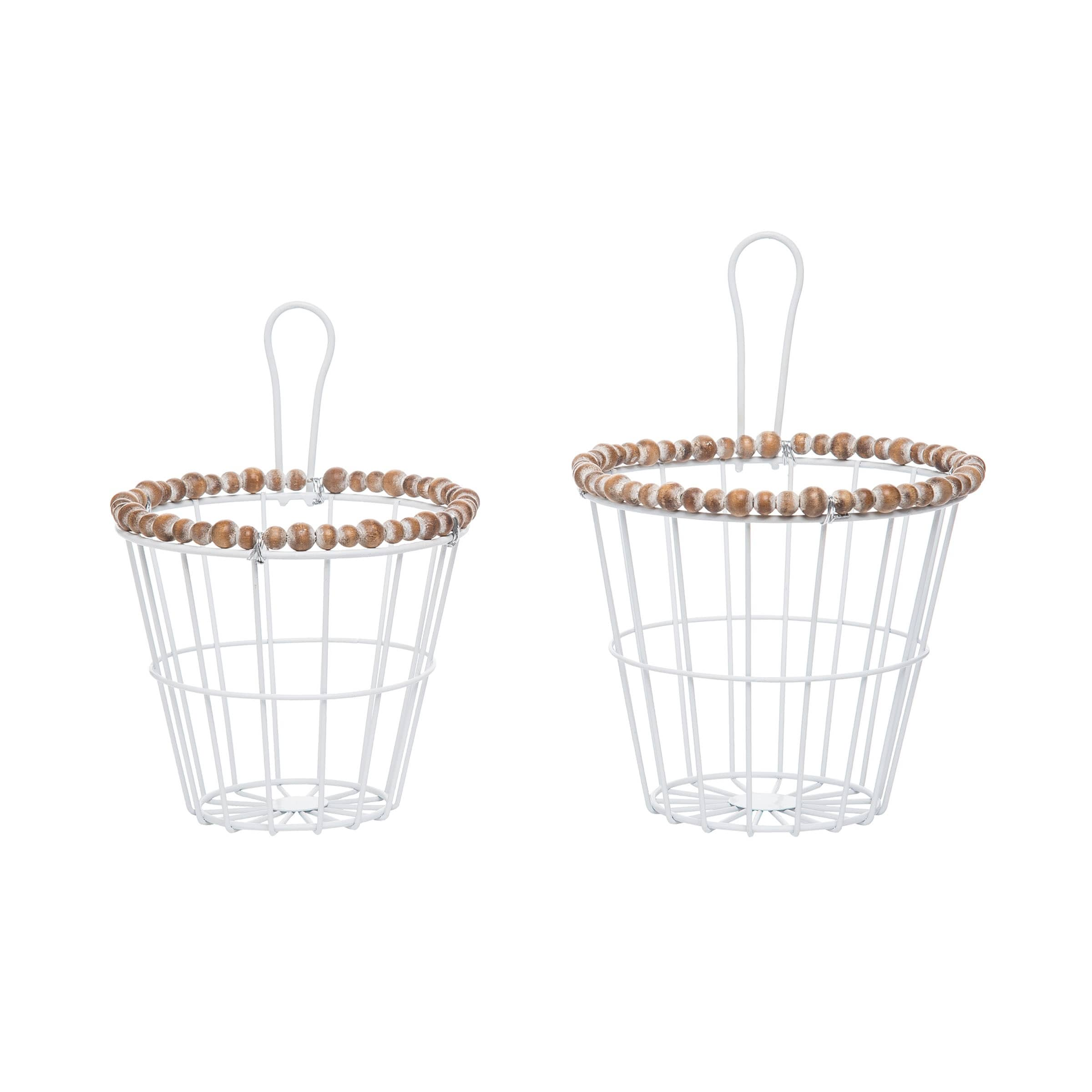 Foreside Home Garden Set Of 2 White Metal And Wood Bead Hanging Decorative Wall Baskets Overstock 30714924