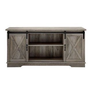 """Delacora WE-BD58SBD  Bandera 58"""" Wide Farmhouse Style TV Stand with Barn Doors"""