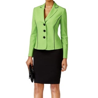 Le Suit NEW Green Black Women's Size 10 Piped Seamed Skirt Suit Set