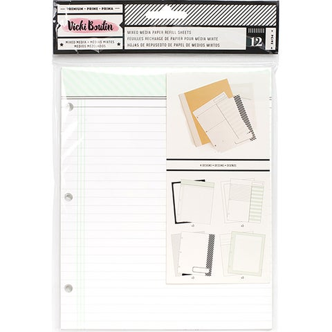 Vicki Boutin Mixed Media Junque Journal Refills 12/Pkg-All The Good Things, 4 Designs/3 Each