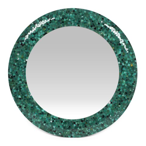 """Alger Boho Handcrafted Round Mosaic Wall Mirror by Christopher Knight Home - 36.00"""" L x 1.00"""" W x 36.00"""" H"""