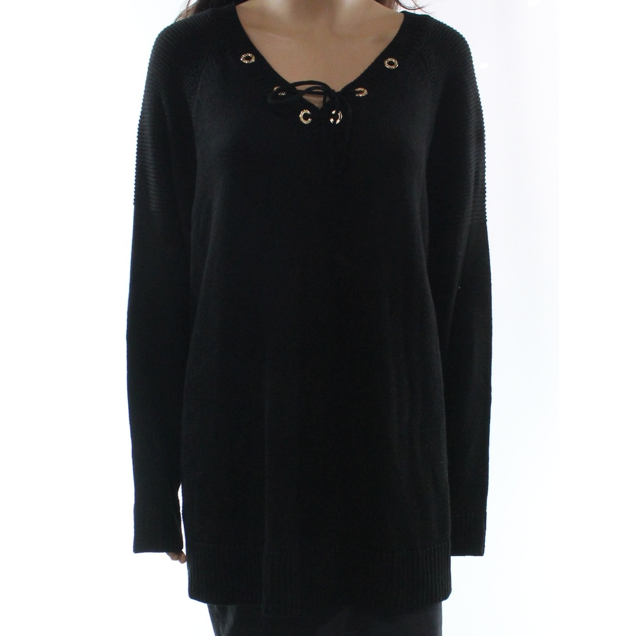 Calvin Klein New Black Womens Size 1x Plus V Neck Lace Up Sweater