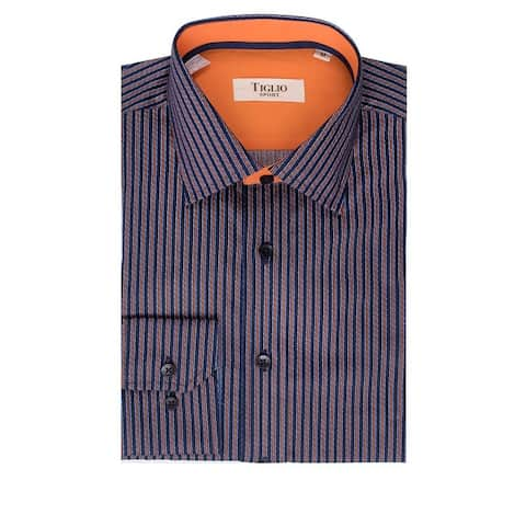 CLEARANCE Navy with Rust Stripe Pattern, Modern Fit, Long Sleeve Sport Shirt By Tiglio Sport V12181
